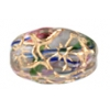 Glass Floral Oval Bead 15x12mm Crystal/Blue/Pink/Green/Gold